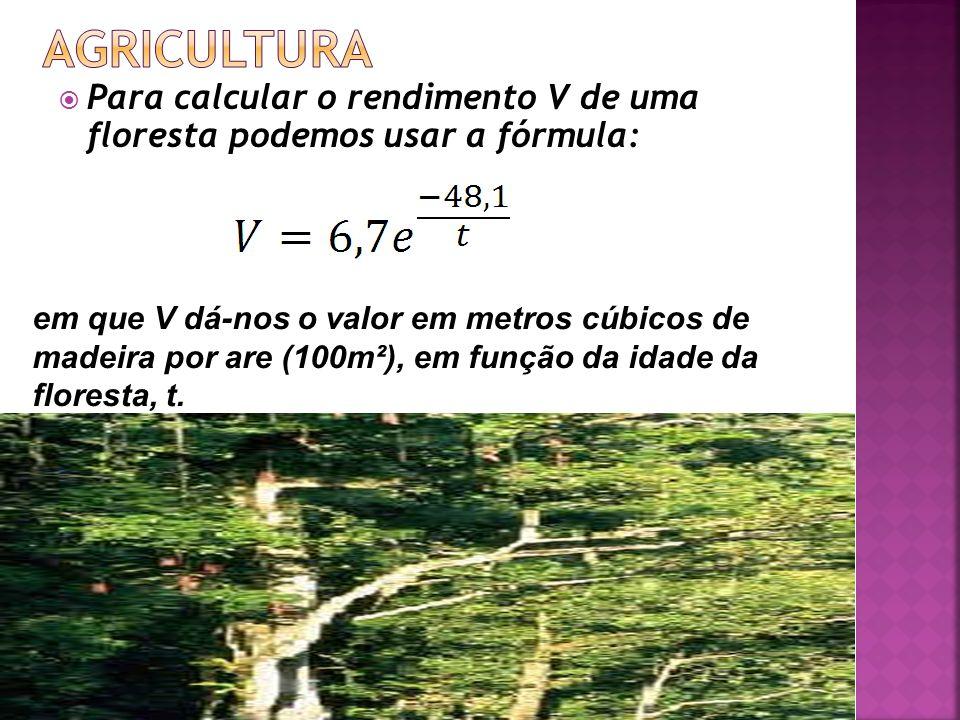 AGRICULTURA Para calcular o rendimento V de uma floresta podemos usar a fórmula: