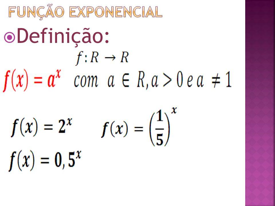 Função exponencial Definição: