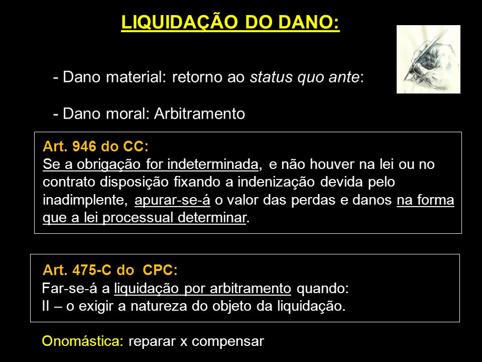 LIQUIDAÇÃO DO DANO: - Dano moral: Arbitramento Art. 946 do CC: