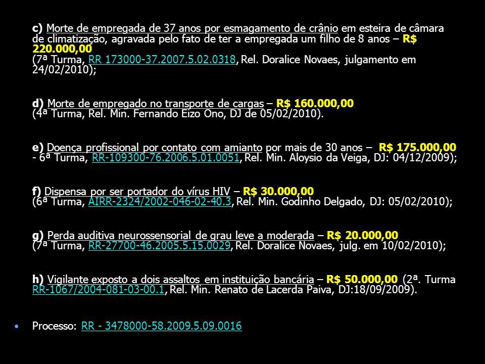 c) Morte de empregada de 37 anos por esmagamento de crânio em esteira de câmara de climatização, agravada pelo fato de ter a empregada um filho de 8 anos – R$ 220.000,00 (7ª Turma, RR 173000-37.2007.5.02.0318, Rel. Doralice Novaes, julgamento em 24/02/2010);