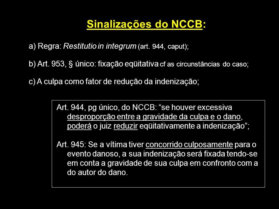 Sinalizações do NCCB: a) Regra: Restitutio in integrum (art. 944, caput); b) Art. 953, § único: fixação eqüitativa cf as circunstâncias do caso;