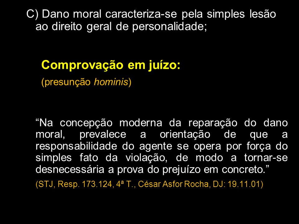 Comprovação em juízo: (presunção hominis)