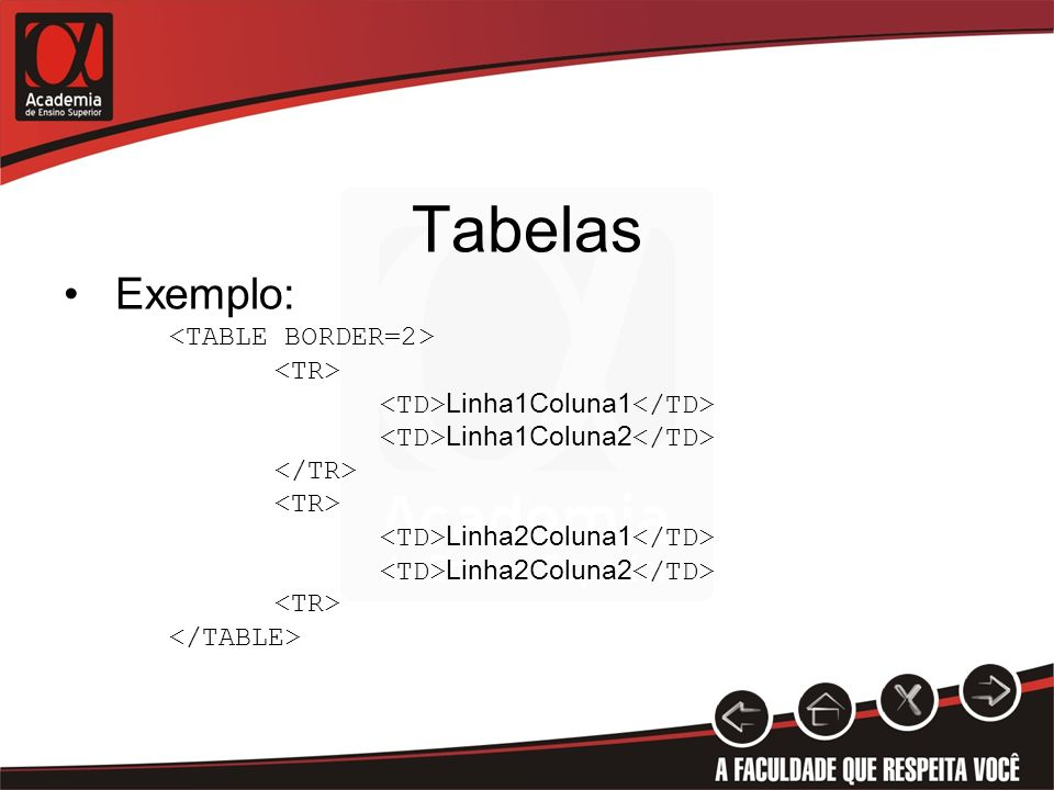 Tabelas Exemplo: <TABLE BORDER=2> <TR>