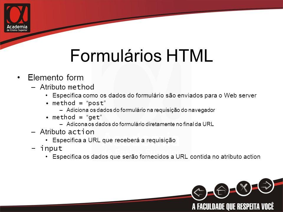 Formulários HTML Elemento form Atributo method Atributo action input