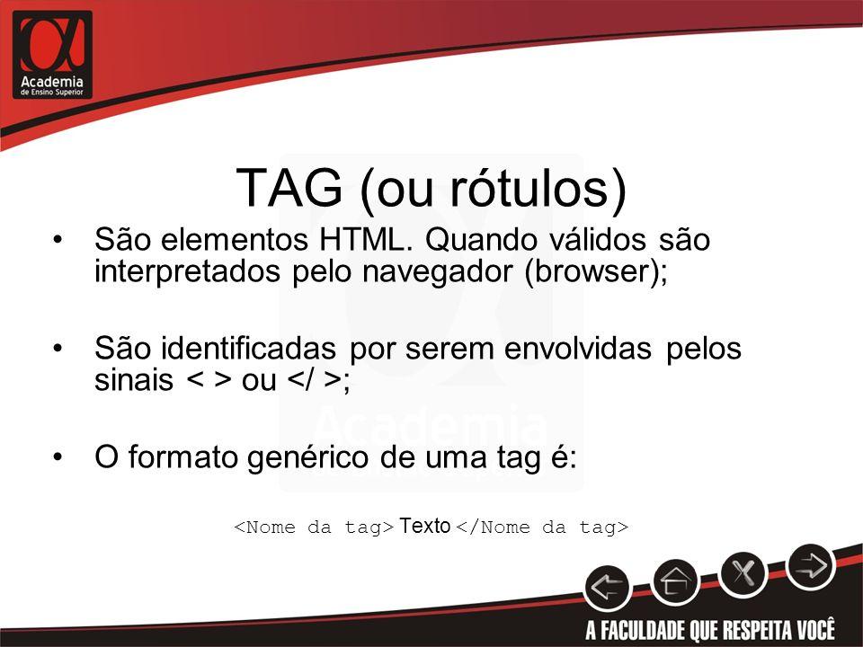 <Nome da tag> Texto </Nome da tag>