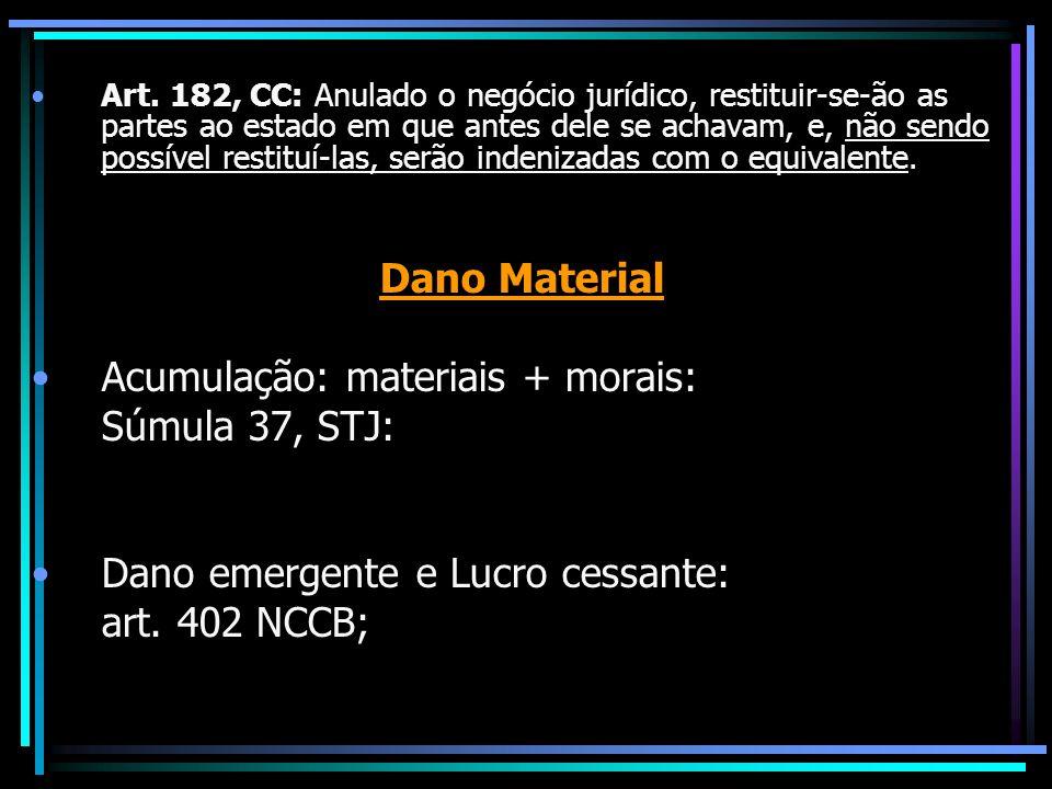 Acumulação: materiais + morais: Súmula 37, STJ: