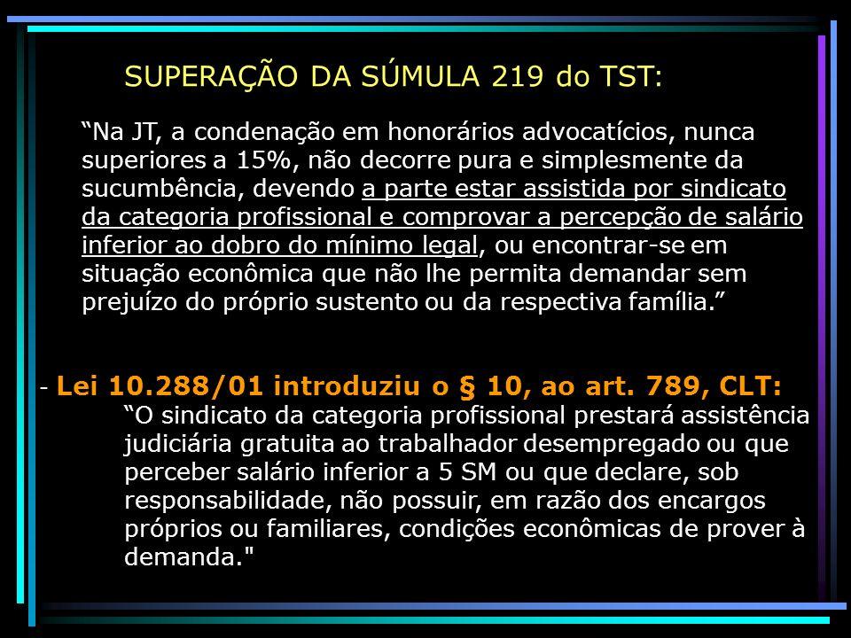 SUPERAÇÃO DA SÚMULA 219 do TST: