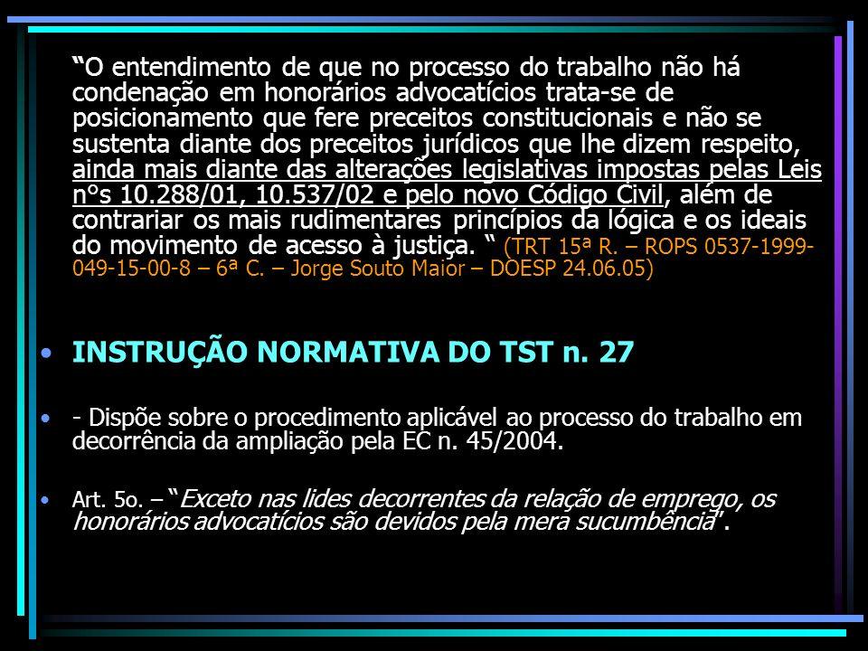 INSTRUÇÃO NORMATIVA DO TST n. 27