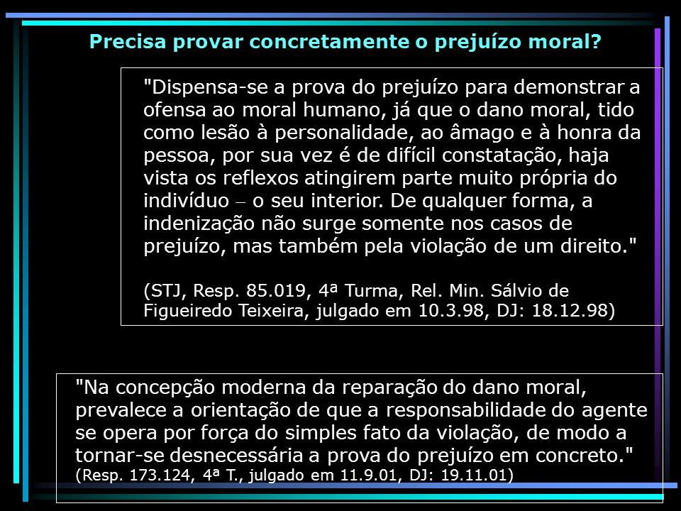 Precisa provar concretamente o prejuízo moral