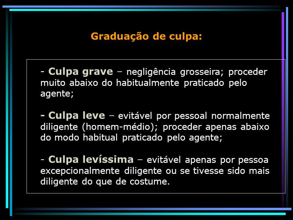 Graduação de culpa: - Culpa grave – negligência grosseira; proceder muito abaixo do habitualmente praticado pelo agente;