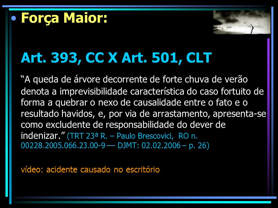 Força Maior: Art. 393, CC X Art. 501, CLT