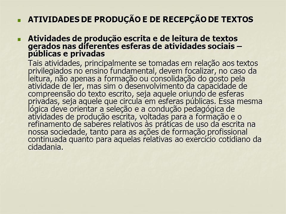 ATIVIDADES DE PRODUÇÃO E DE RECEPÇÃO DE TEXTOS