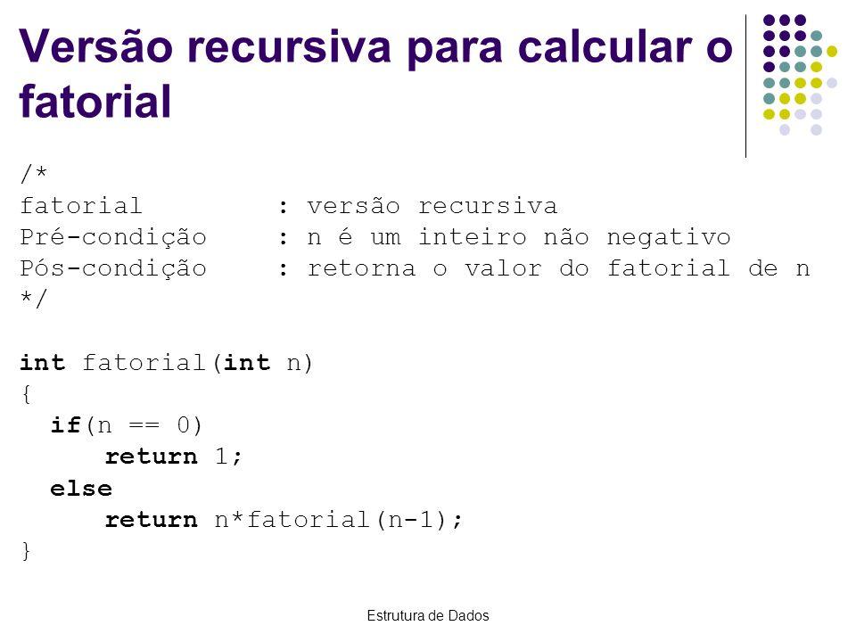 Versão recursiva para calcular o fatorial