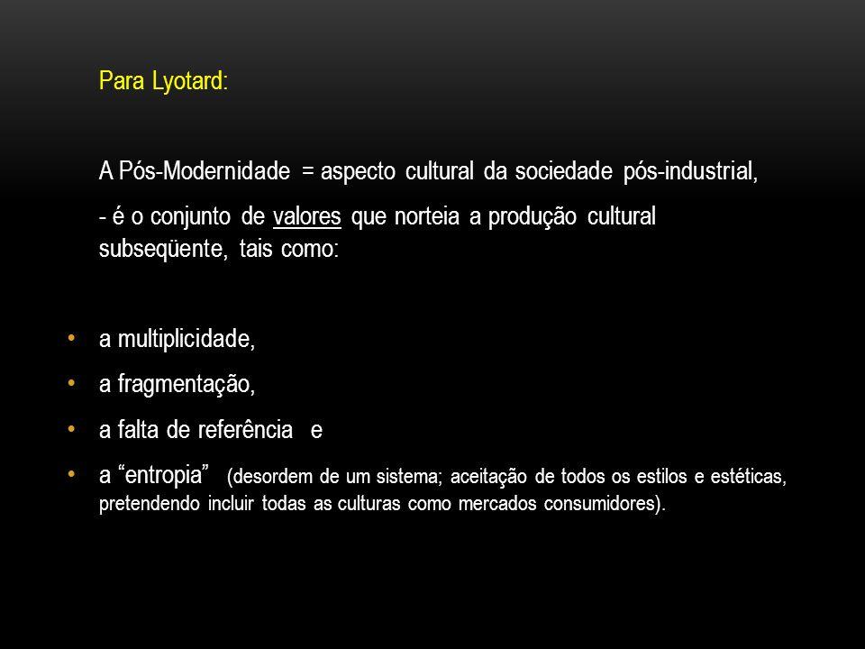Para Lyotard:A Pós-Modernidade = aspecto cultural da sociedade pós-industrial,