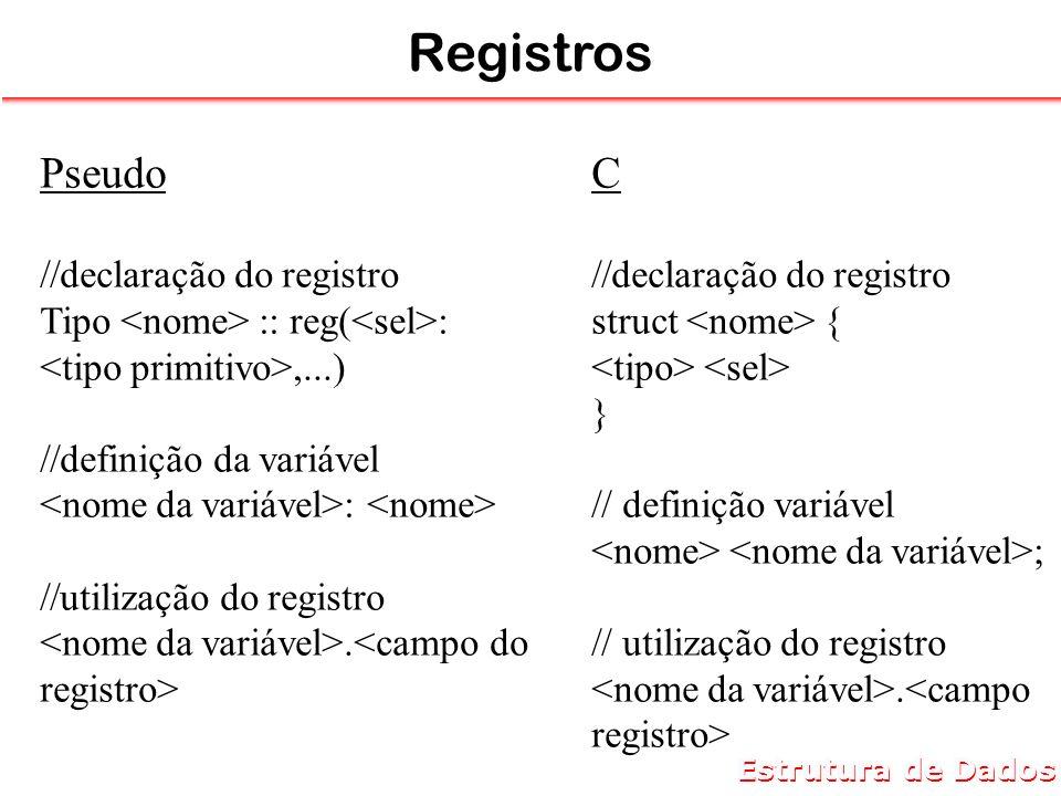 Registros Pseudo C //declaração do registro