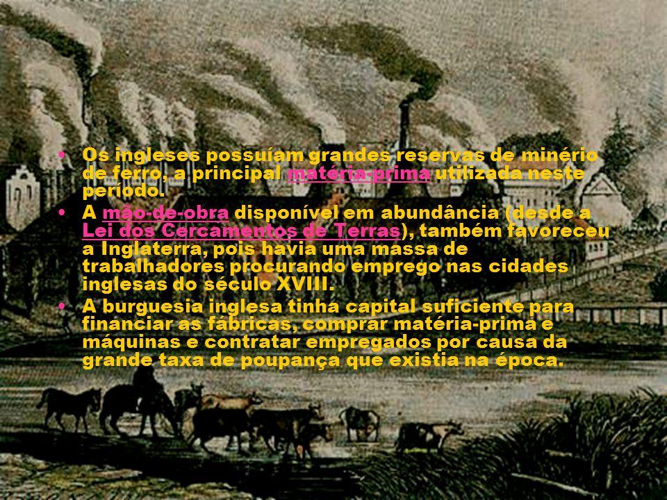 Os ingleses possuíam grandes reservas de minério de ferro, a principal matéria-prima utilizada neste período.
