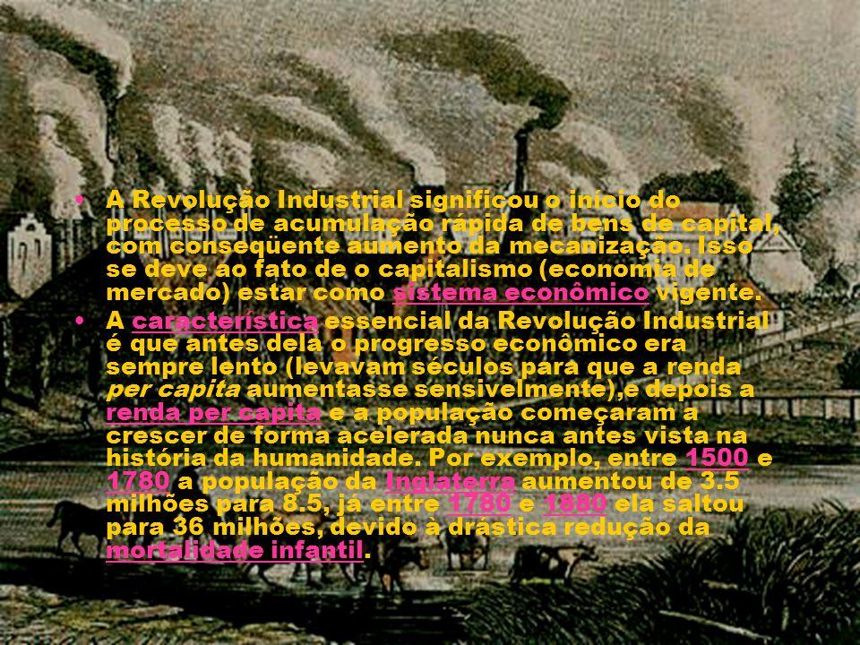 A Revolução Industrial significou o início do processo de acumulação rápida de bens de capital, com conseqüente aumento da mecanização. Isso se deve ao fato de o capitalismo (economia de mercado) estar como sistema econômico vigente.