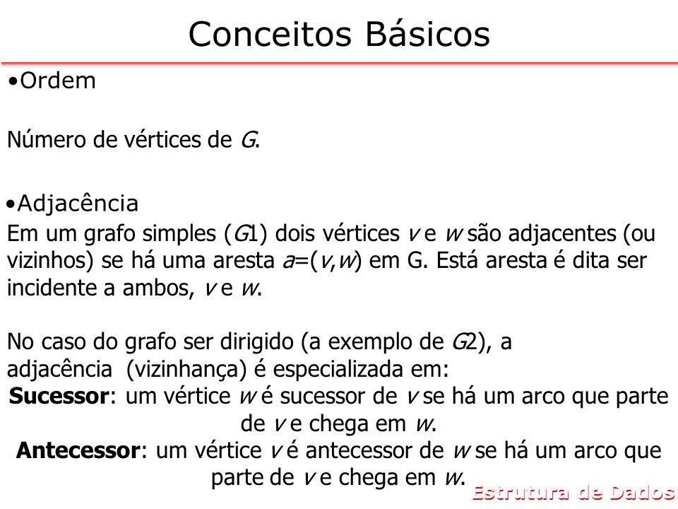 Conceitos Básicos Ordem. Número de vértices de G. Adjacência.