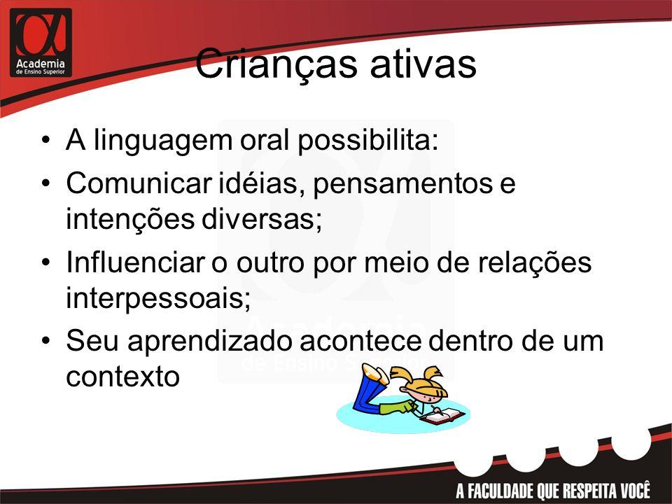 Crianças ativas A linguagem oral possibilita: