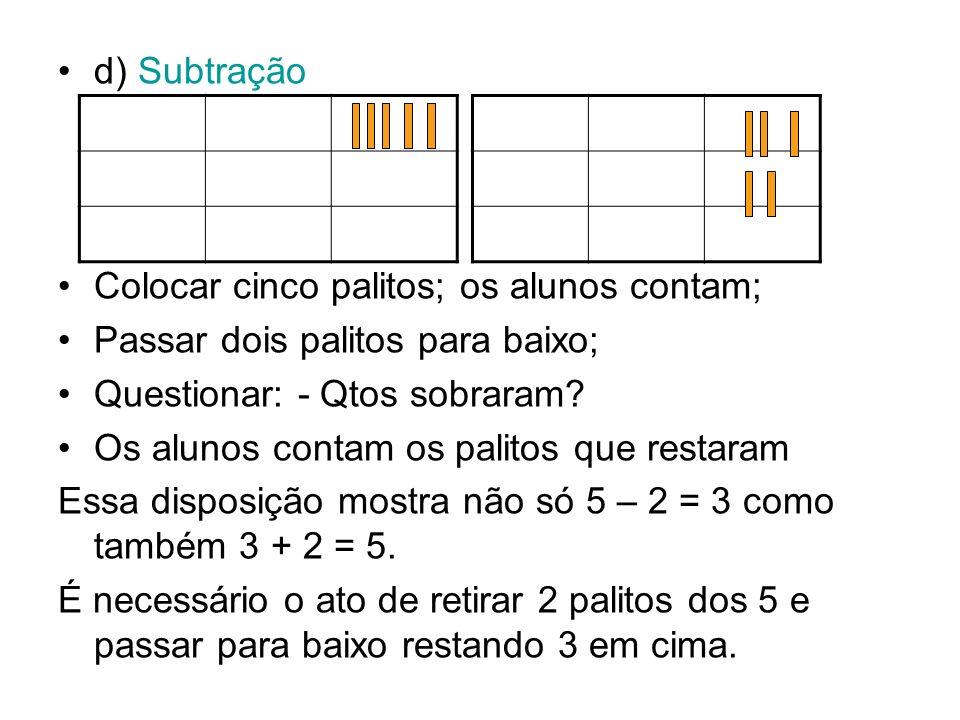 d) Subtração Colocar cinco palitos; os alunos contam; Passar dois palitos para baixo; Questionar: - Qtos sobraram
