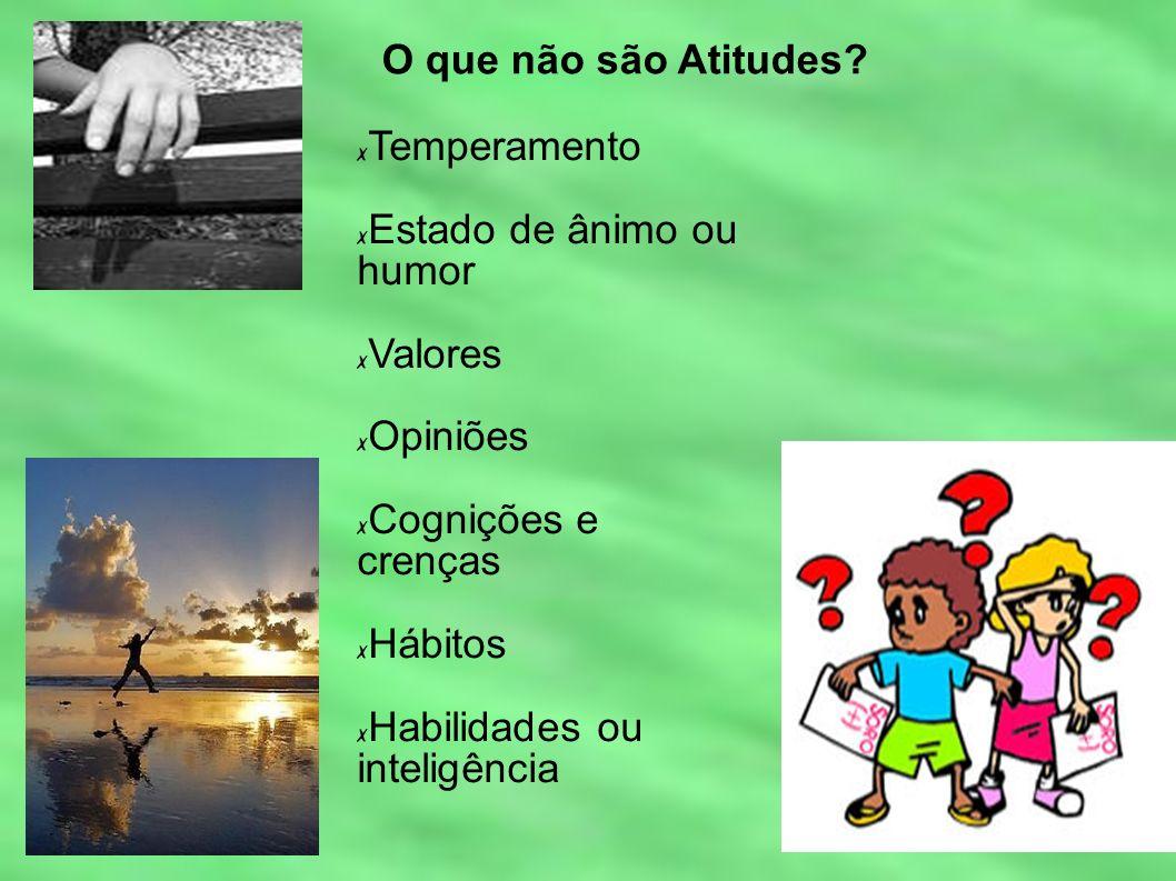 O que não são Atitudes Temperamento. Estado de ânimo ou humor. Valores. Opiniões. Cognições e crenças.