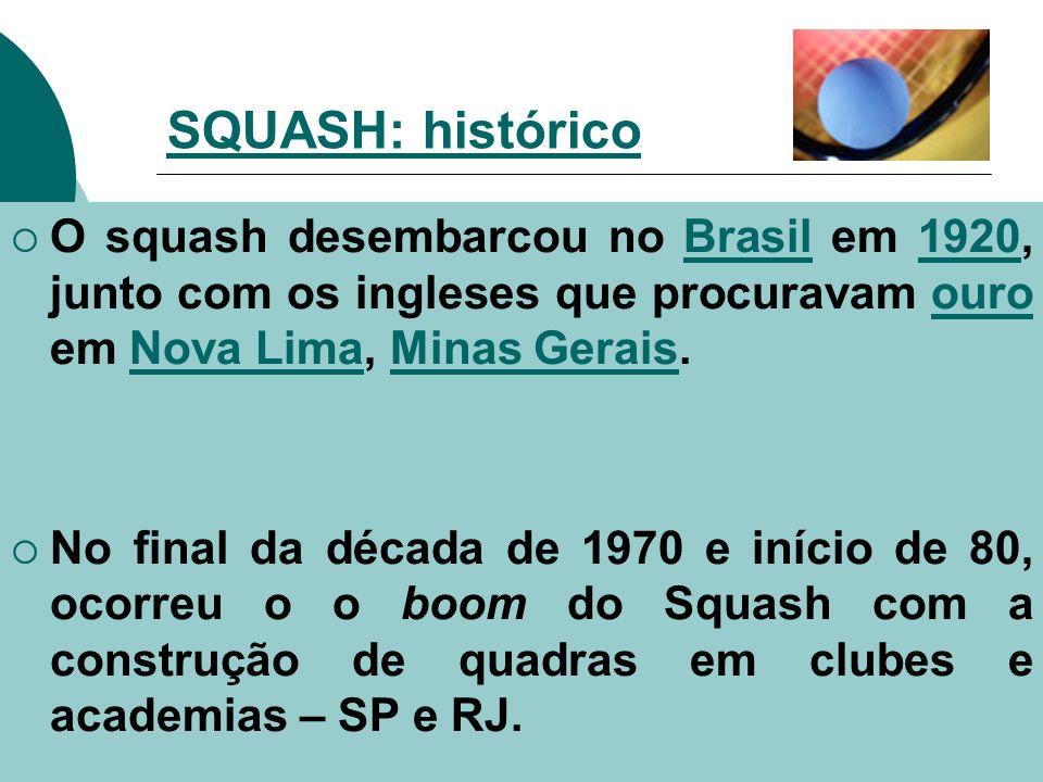 SQUASH: histórico O squash desembarcou no Brasil em 1920, junto com os ingleses que procuravam ouro em Nova Lima, Minas Gerais.
