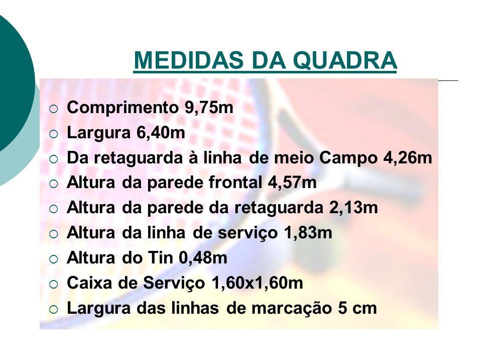 MEDIDAS DA QUADRA Comprimento 9,75m Largura 6,40m