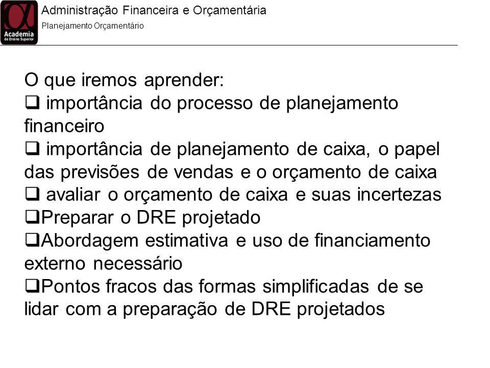importância do processo de planejamento financeiro