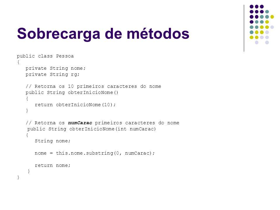 Sobrecarga de métodos public class Pessoa { private String nome;