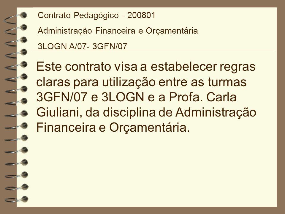 Contrato Pedagógico - 200801 Administração Financeira e Orçamentária. 3LOGN A/07- 3GFN/07.
