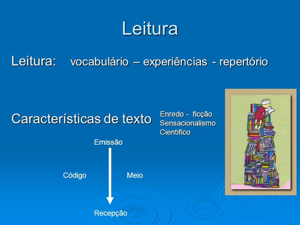 Leitura Leitura: vocabulário – experiências - repertório