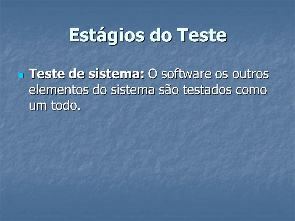 Estágios do Teste Teste de sistema: O software os outros elementos do sistema são testados como um todo.