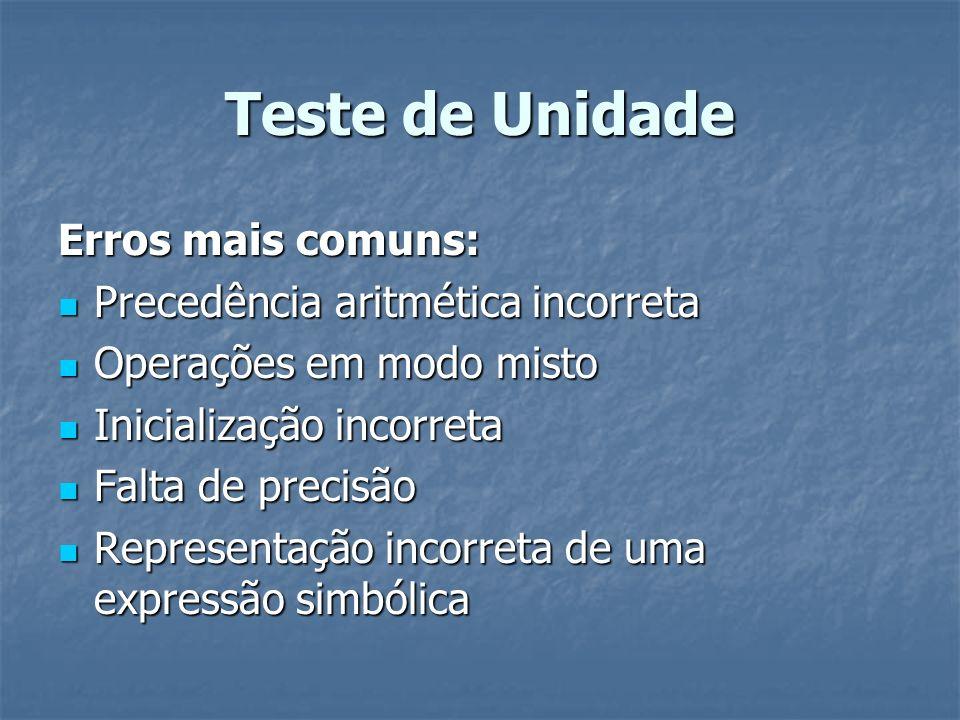 Teste de Unidade Erros mais comuns: Precedência aritmética incorreta