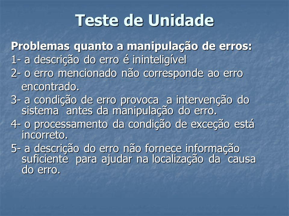 Teste de Unidade Problemas quanto a manipulação de erros: