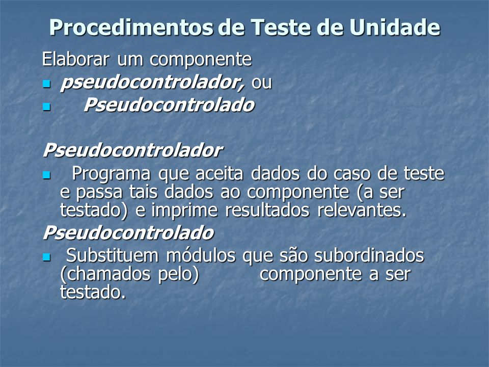 Procedimentos de Teste de Unidade