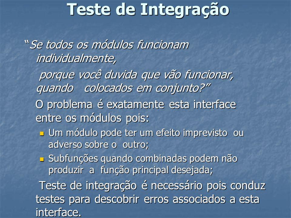 Teste de Integração Se todos os módulos funcionam individualmente,