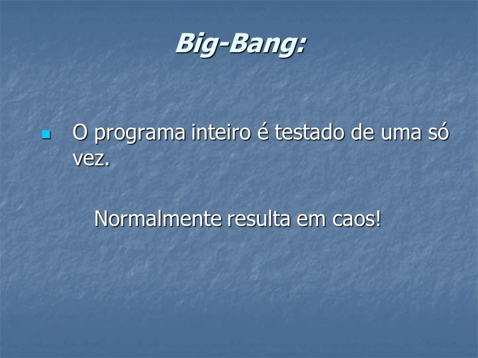 Big-Bang: O programa inteiro é testado de uma só vez.