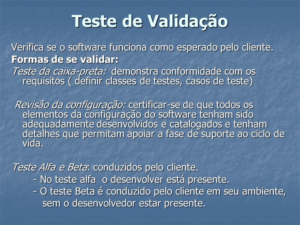 Teste de Validação Verifica se o software funciona como esperado pelo cliente. Formas de se validar: