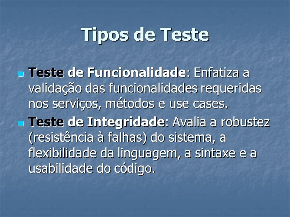Tipos de Teste Teste de Funcionalidade: Enfatiza a validação das funcionalidades requeridas nos serviços, métodos e use cases.