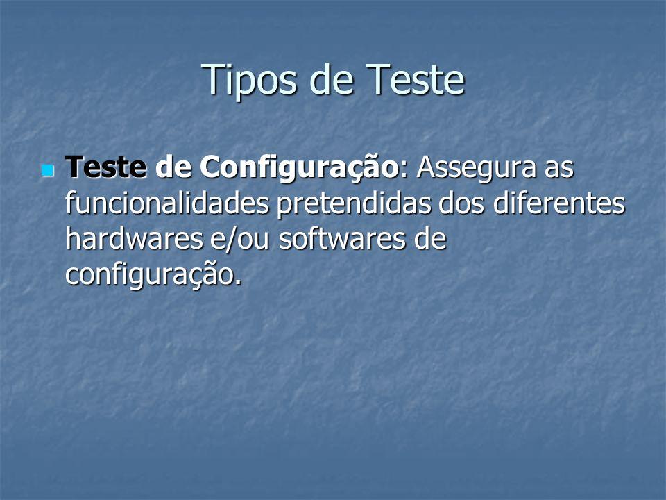 Tipos de Teste Teste de Configuração: Assegura as funcionalidades pretendidas dos diferentes hardwares e/ou softwares de configuração.