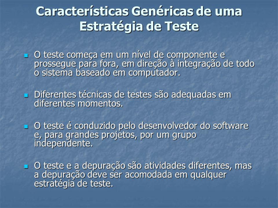 Características Genéricas de uma Estratégia de Teste