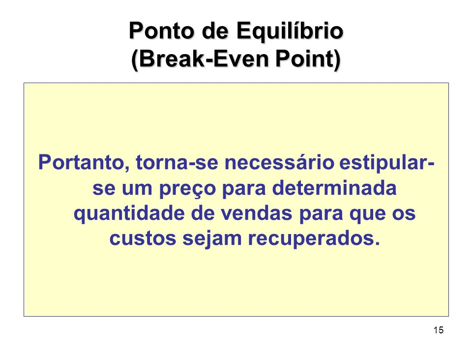 Ponto de Equilíbrio (Break-Even Point)