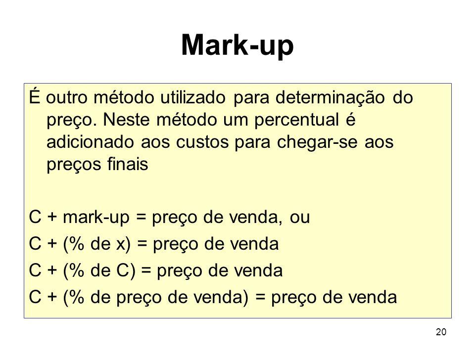 Mark-up É outro método utilizado para determinação do preço. Neste método um percentual é adicionado aos custos para chegar-se aos preços finais.