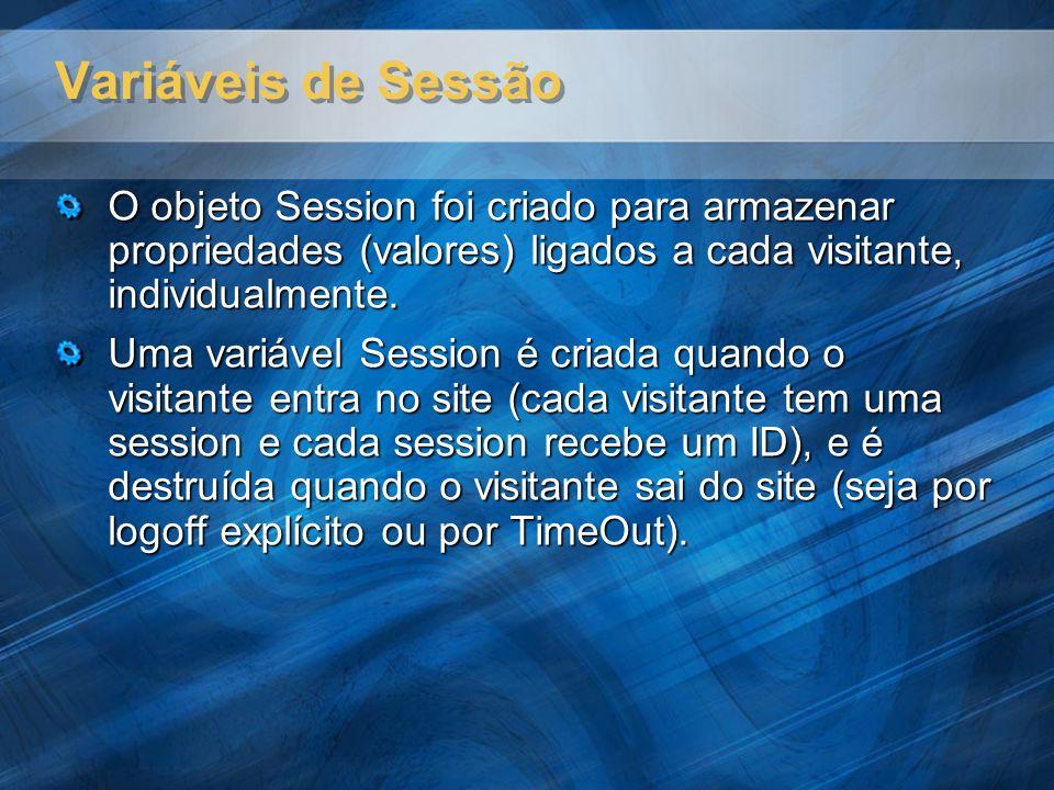 Variáveis de Sessão O objeto Session foi criado para armazenar propriedades (valores) ligados a cada visitante, individualmente.