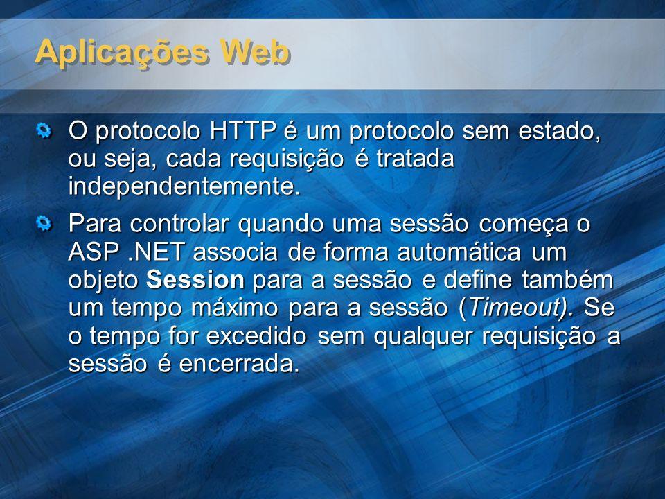 Aplicações Web O protocolo HTTP é um protocolo sem estado, ou seja, cada requisição é tratada independentemente.