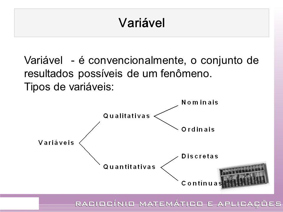 Variável. Variável - é convencionalmente, o conjunto de resultados possíveis de um fenômeno. Tipos de variáveis: