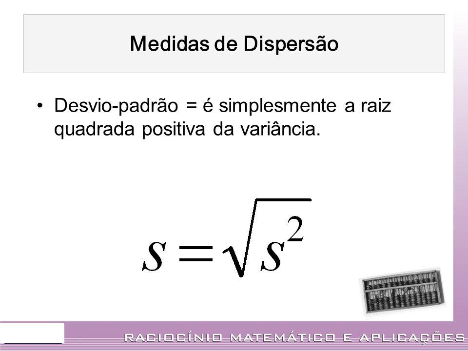 Medidas de Dispersão Desvio-padrão = é simplesmente a raiz quadrada positiva da variância.
