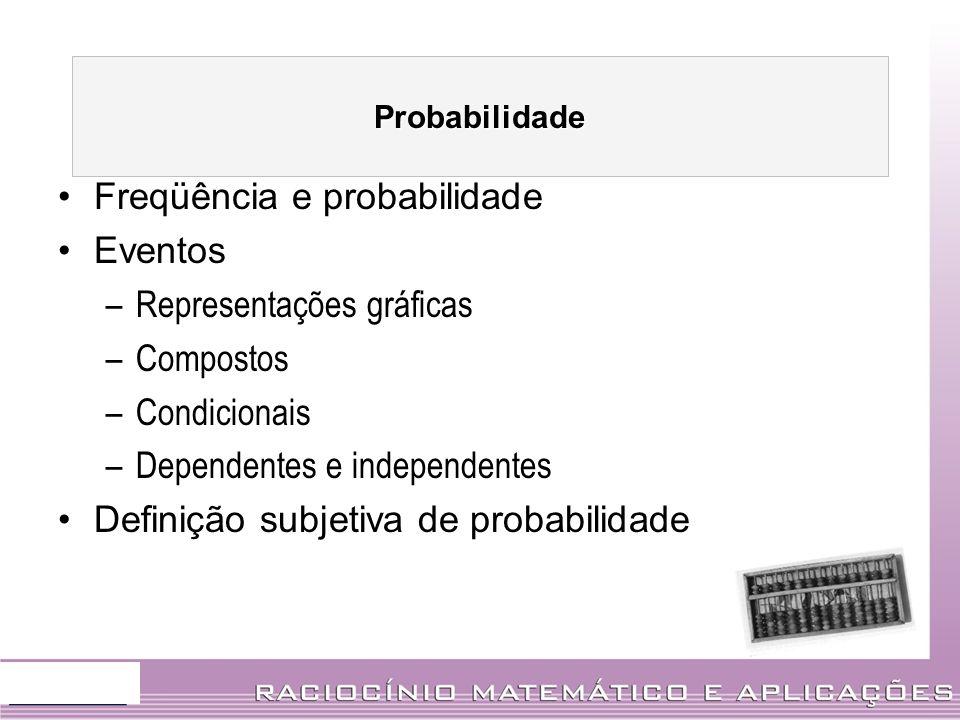 Freqüência e probabilidade Eventos Representações gráficas Compostos