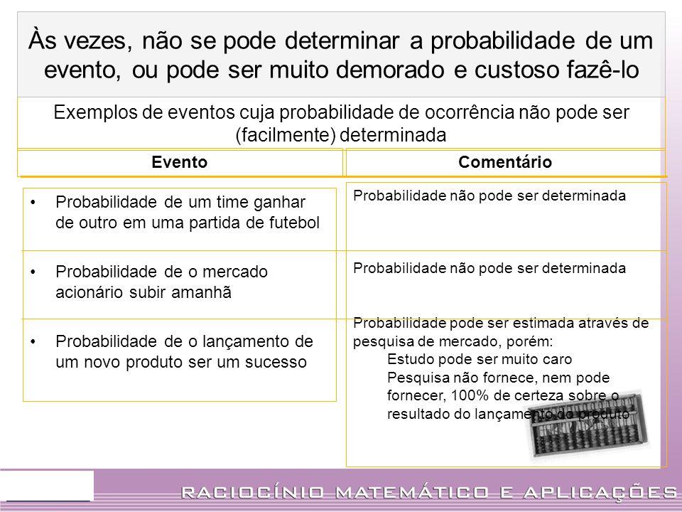 Às vezes, não se pode determinar a probabilidade de um evento, ou pode ser muito demorado e custoso fazê-lo