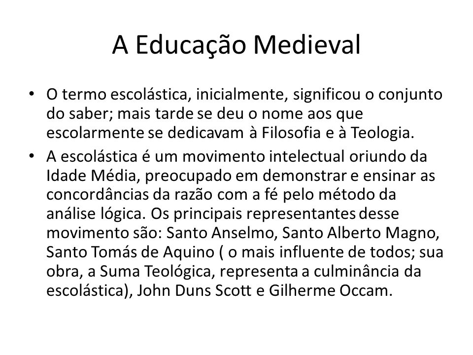 A Educação Medieval